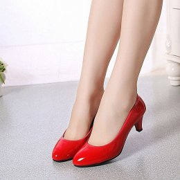 Shallow mouth women high-heeled shoes office lady low-heeled red