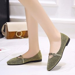 Women low-heeled sequined shallow slip banquet toe head flat shoes