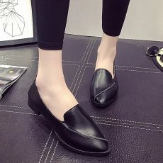 Female fashion candy-colored boat shoes breathable flat shoes - black