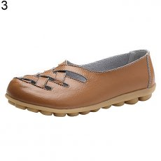 Women fashion sandals flat shoes breathable hollow Moccasin - Brown