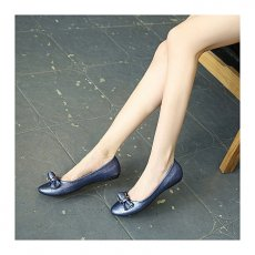 Women Basic metal buttons round flat shoes comfortable shoes women shoes blue