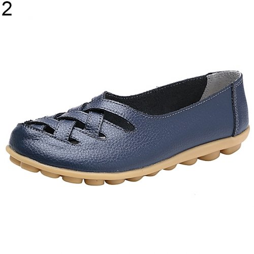 Women fashion sandals flat shoes breathable hollow buns shoes, dark blue