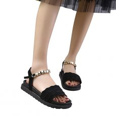 Solid metal round buckle shoes sandals
