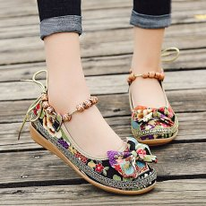 Women fashion embroidered shoes bow flat shoes ankle